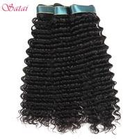 Satai Deep Wave 3 Bundles Brazilian Hair Weave Bundles 100 Human Hair NonRemy Hair Extension Natural