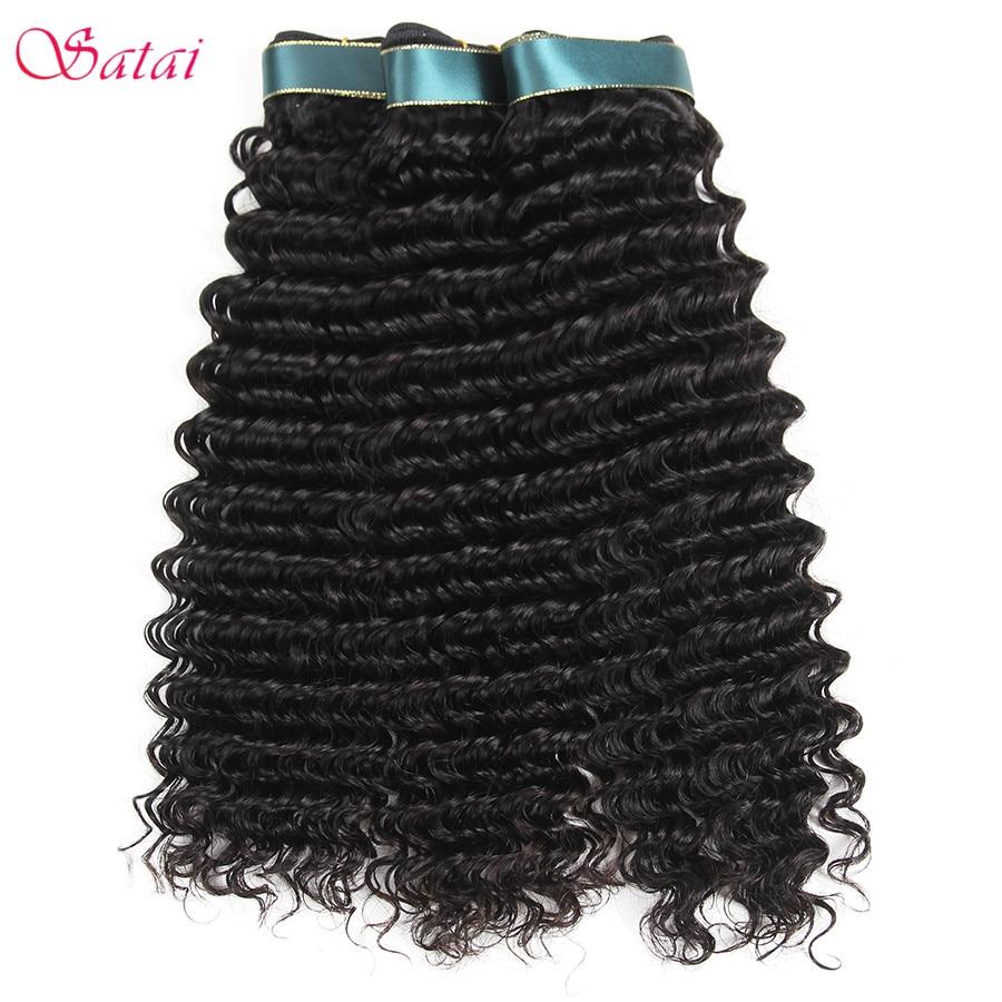 Satai Diepe Golf 3 Bundels Braziliaanse Haar Weave Bundels 100% - Mensenhaar (voor zwart)