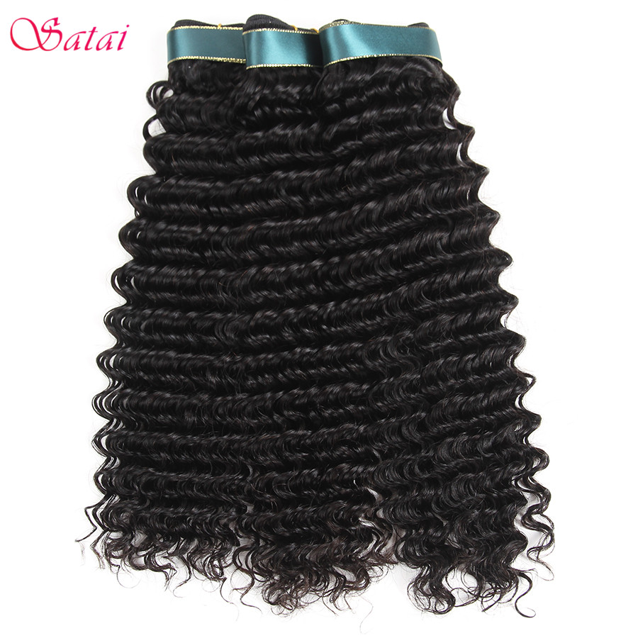 Satai Deep Wave 3 Bundles Brazilian Hair Weave Bundles 100% - Menneskehår (sort)