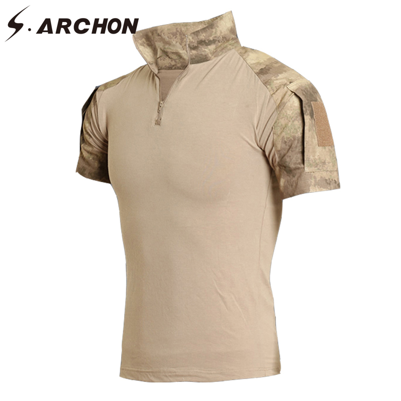 S.ARCHON Summer Military Camouflage   Polo   Shirt Men Short Sleeve Elastic Casual Breathable Tactical Army Combat   Polo   Shirts