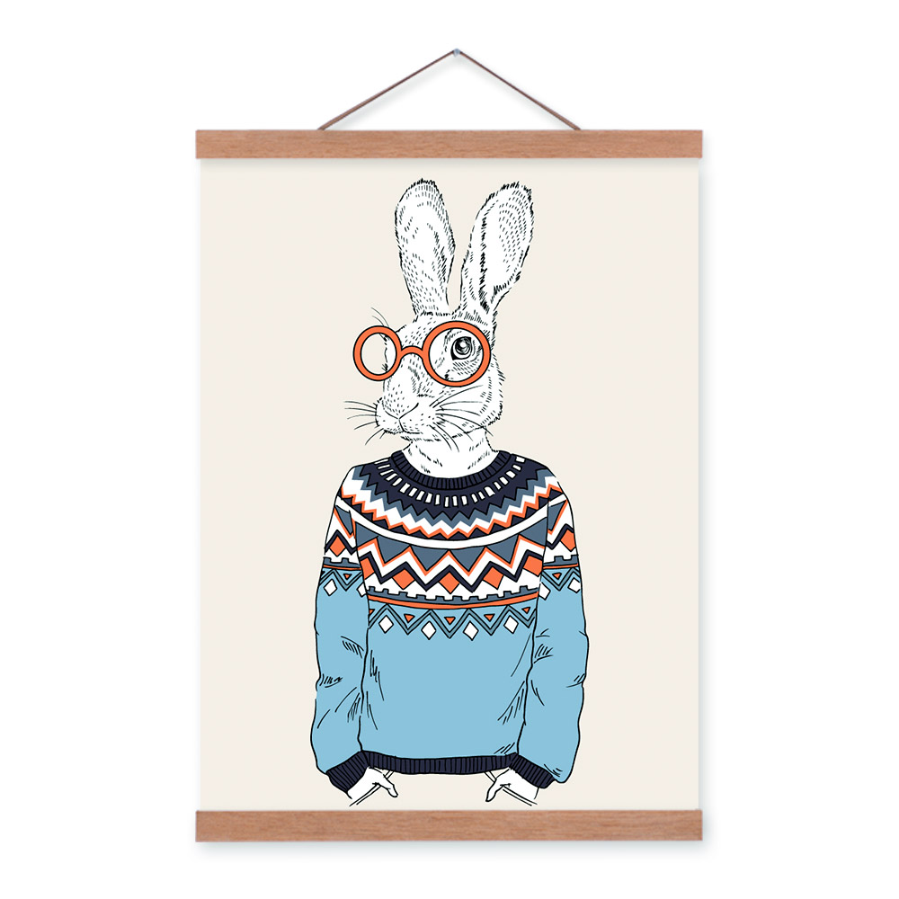 Hare Rabbit Modern Fashion Gentleman Animals Portrait <font><b>Hippie</b></font> A4 Framed Canvas Painting Wall Art Prints Picture Poster <font><b>Home</b></font> <font><b>Decor</b></font>