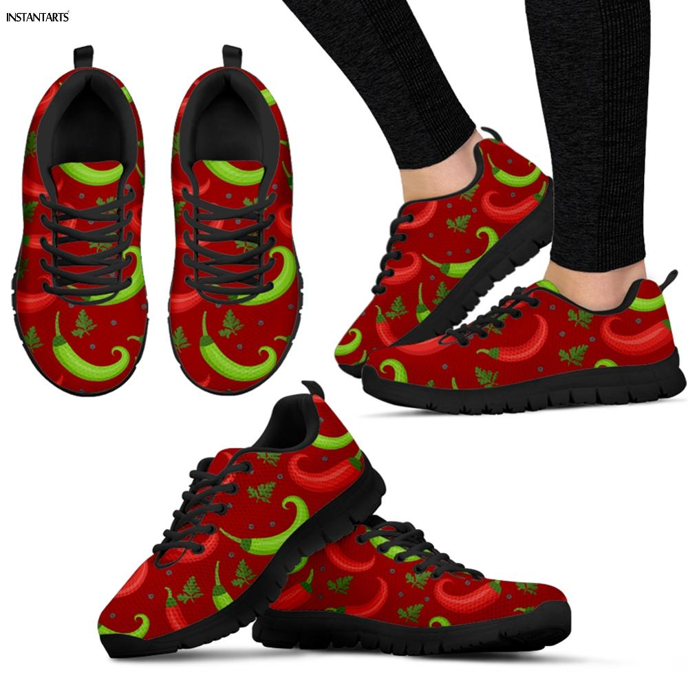 INSTANTARTS Chile Red Pepper Printed Sports Shoes Woman Outdoor Walking Running Shoes Breath Light Adult Gym Air Mesh Sneakers