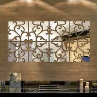 Creatieve 3D Spiegel Muursticker Verwijderbare DIY Acryl Vierkante Spiegel Oppervlak Stickers Woonkamer Woondecoratie