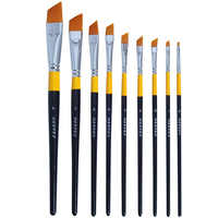 MEEDEN Angular/ Flat Paint Brushes Set Golden Nylon for Oil Acrylics Watercolor and Gouache Color Painting