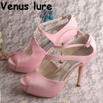High Heel Summer Women Shoes Pink Female Platform Shoes for Wedding Open Toe