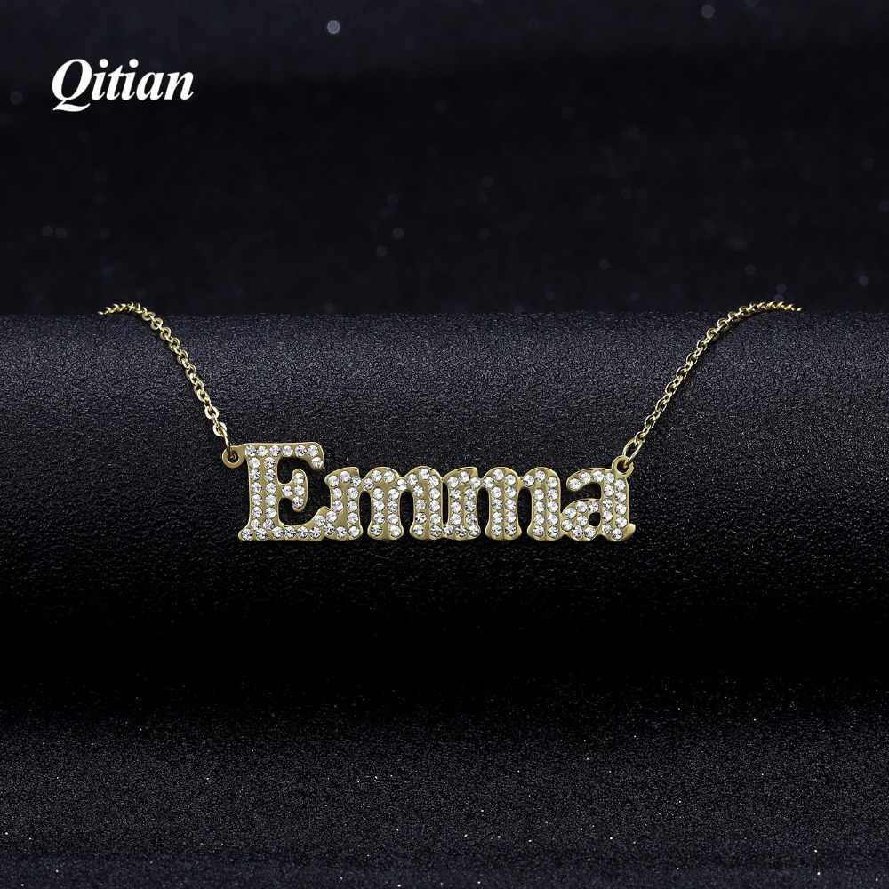 Personalized Necklace  Iced Out Stone Chain Zirconia Necklaces Gold Color Stainless Steel Custom Name Necklace Fashion Jewlery