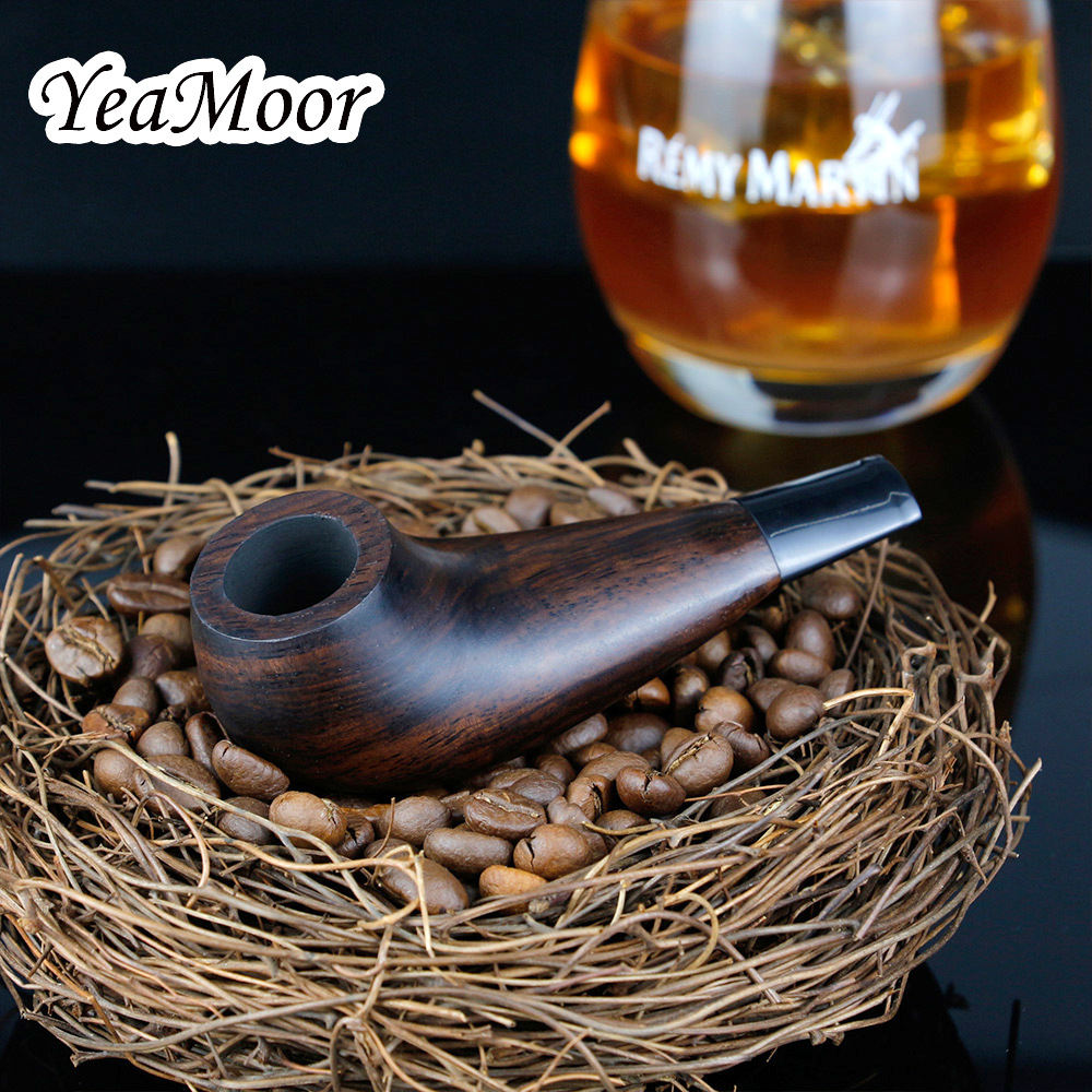 Vintage Mini Ebony Wood Pipe Creative Drumsticks Design Smoking Pipe Tobacco Pipe 3mm Metal Filter Smoke Pipe free tools set in Shisha Pipes Accessories from Home Garden