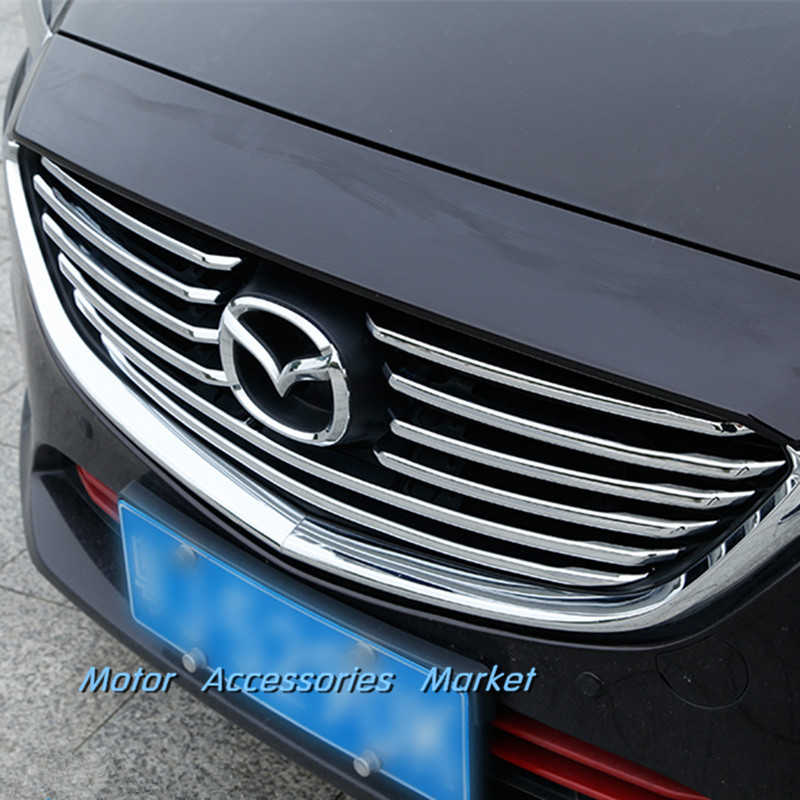 New Chrome 10 pcs  Full Set Front Grille Cover Trim For Mazda 6 Atenza 2016 2017 executive car