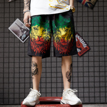 UTHDJKDS Hip-hop Street Colored Lion Printed Travel Beach in Summer 2019 shorts