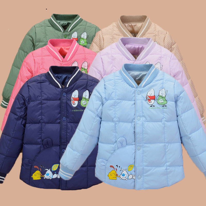 New fashion winter solid color children child down jacket light coats for baby boys and girls