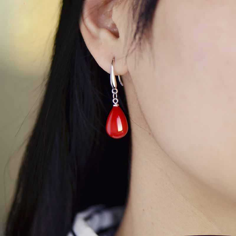 New Pearl Red Drop Earring for Women Fancy Colorful Simulated-pearl Long Earring Trendy Jewelry Gift Box Packing