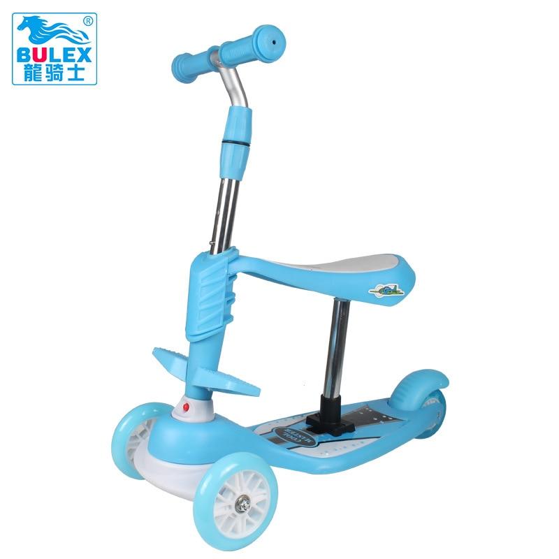 123017 3 en 1 Enfant Scooter Jouet Tricycle Scooter avec Ajuster poignée Bar PU Lumière Up Roue 3 Couleurs Disponibles Trottinette Enfant