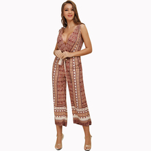 Women Jumpsuits Summer Bohemian Style Breathable Sleeveless Loose Casual Bodysuit Backless Sexy Deep V neck lady 81880