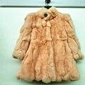 Besty Natural real da pele do coelho casaco de pele das crianças em multicolor casaco feminino casaco de pele de coelho casaco de inverno quente