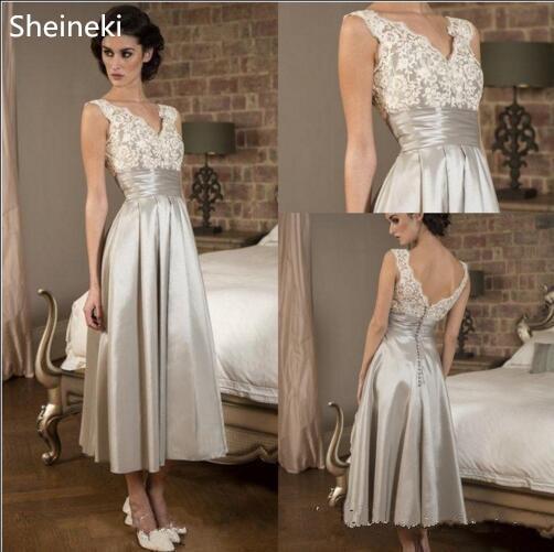Gorgeous V Neck Lace Applique Mother Of The Bride Dresses Sleeveless Satin A Line Tea Length Evening Dress Robe De Mariee