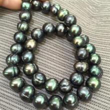 17 дюймов Потрясающие Таити 9-10 мм Цвета: черный, зеленый, жемчужные ожерелья с 925 серебряная застежка