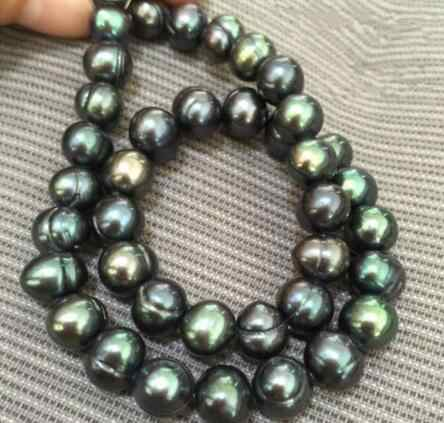 17inch stunning tahitian 9-10mm black green pearl necklaces 925silver CLASP
