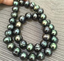 17inch stunning tahitian 9 10mm black green pearl necklaces 925silver CLASP