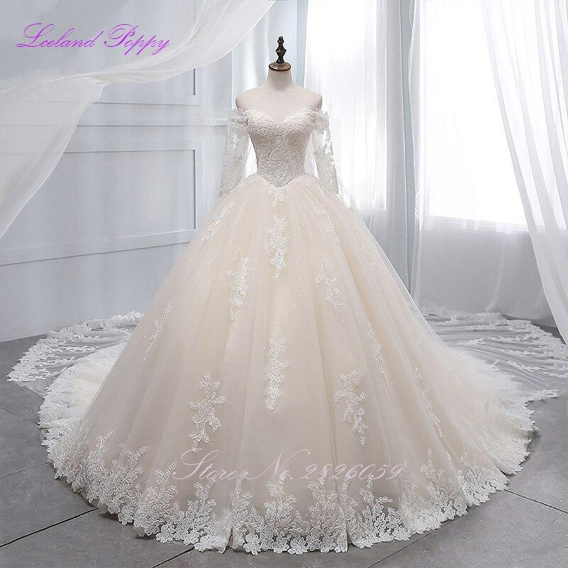 Women's Off The Shoulder Ball Gown Wedding Dresses 2019 Long Sleeves Lace Appliques Floor Length Vestido De Novia Bridal Gowns