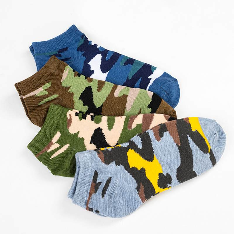 4 pairs / Lot Men   Sock   2019 Spring & Summer Cotton Brand New Army Soldier Camouflage Casual   Socks   Men's   Socks   Boat   Socks   For Men