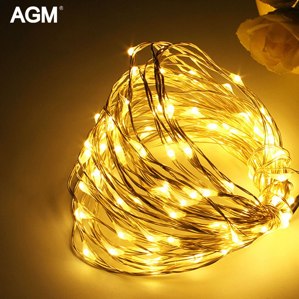 AGM 10 Mt Kupferdraht LED String Licht Girlande 100LED Batterie ...