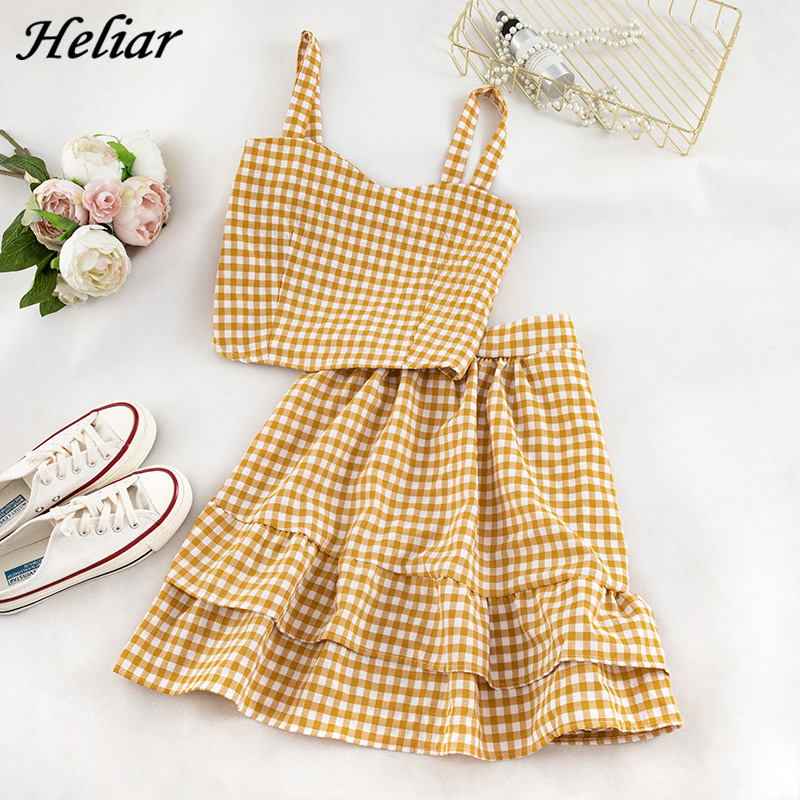 Heliar Yellow Plaid Spaghetti Tops And Skirt Women Sets Skirt Patchwork Sets Femme Two Pieces Outfits 2020 Summer Suits Women