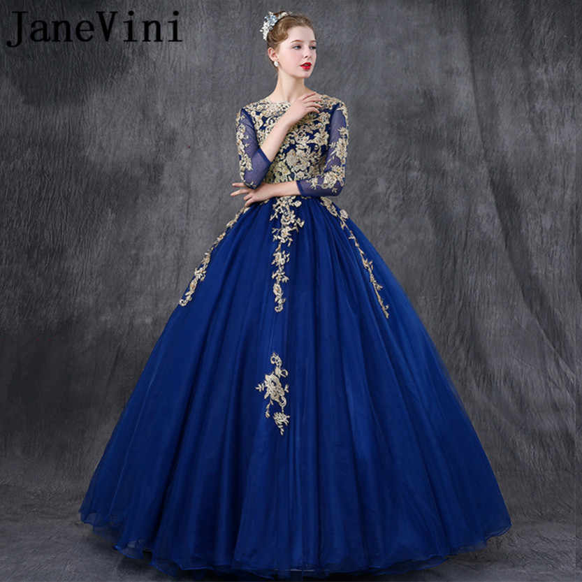 a3a5c466c9e3 JaneVini Charming Royal Blue Long Bridesmaid Dresses With Sleeves Ball Gown  Gold Lace Appliques Pearls Girls