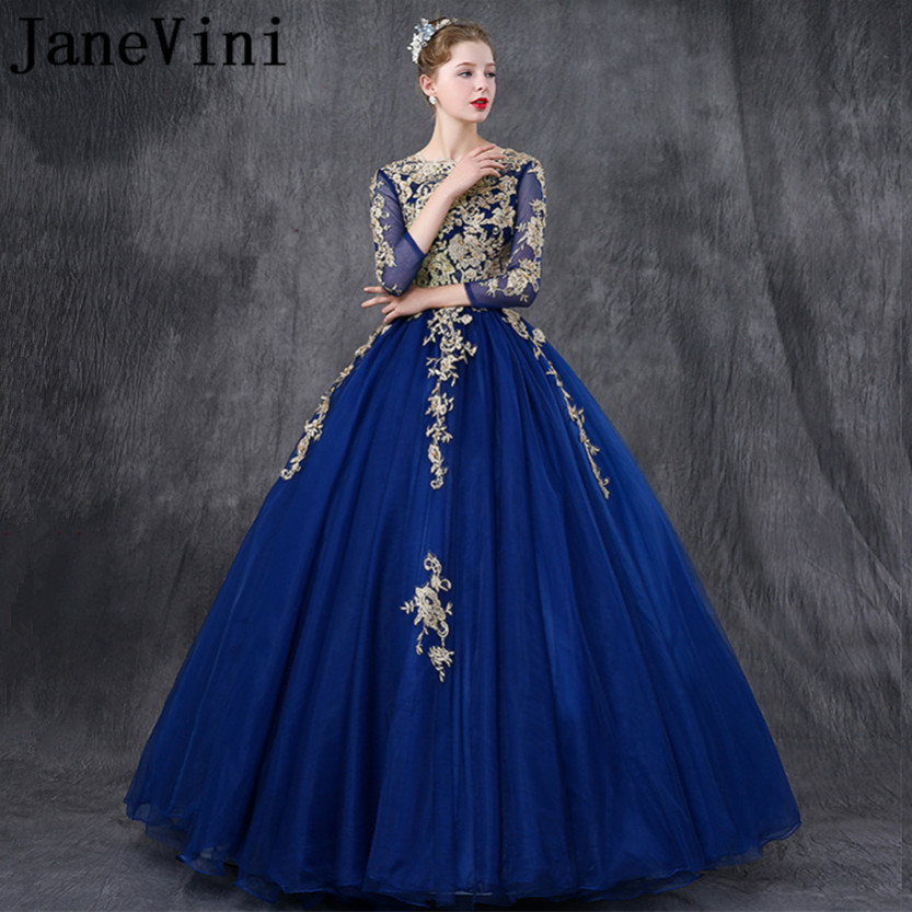 JaneVini Charming Royal Blue Long   Bridesmaid     Dresses   With Sleeves Ball Gown Gold Lace Appliques Pearls Girls Pageant Party Gowns