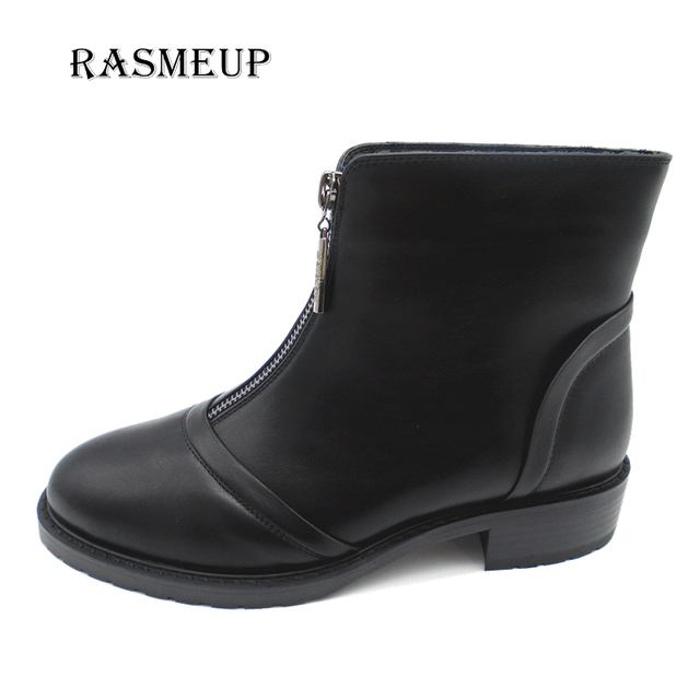 1020da7fb28d RASMEUP Clearance Genuine Leather Fashion Women Front Zipper Flat Ankle  Boots Woman Boots Women s Winter Plush Martin Shoes
