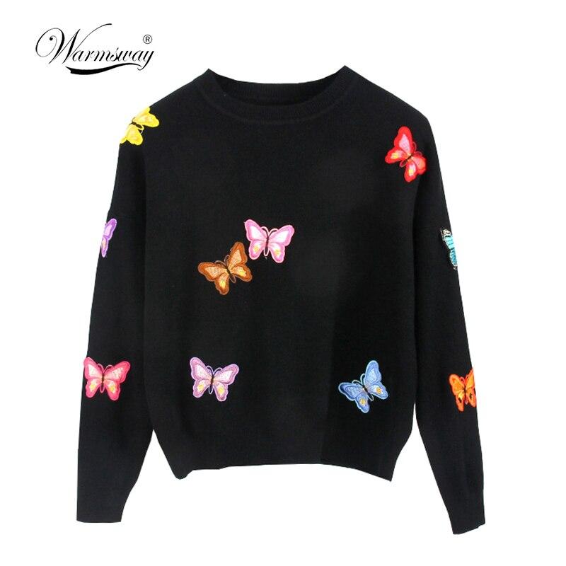 Hiqh qualidade Original Estilo Europeu Nova Queda Winer Mulheres Borboleta luxo knitting sweater Quente Pullover Casual tops C-018