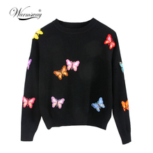 Hiqh quality Original European Style New Fall Winer Women Butterfly luxury knitting sweater Warm Casual Pullover tops C-018