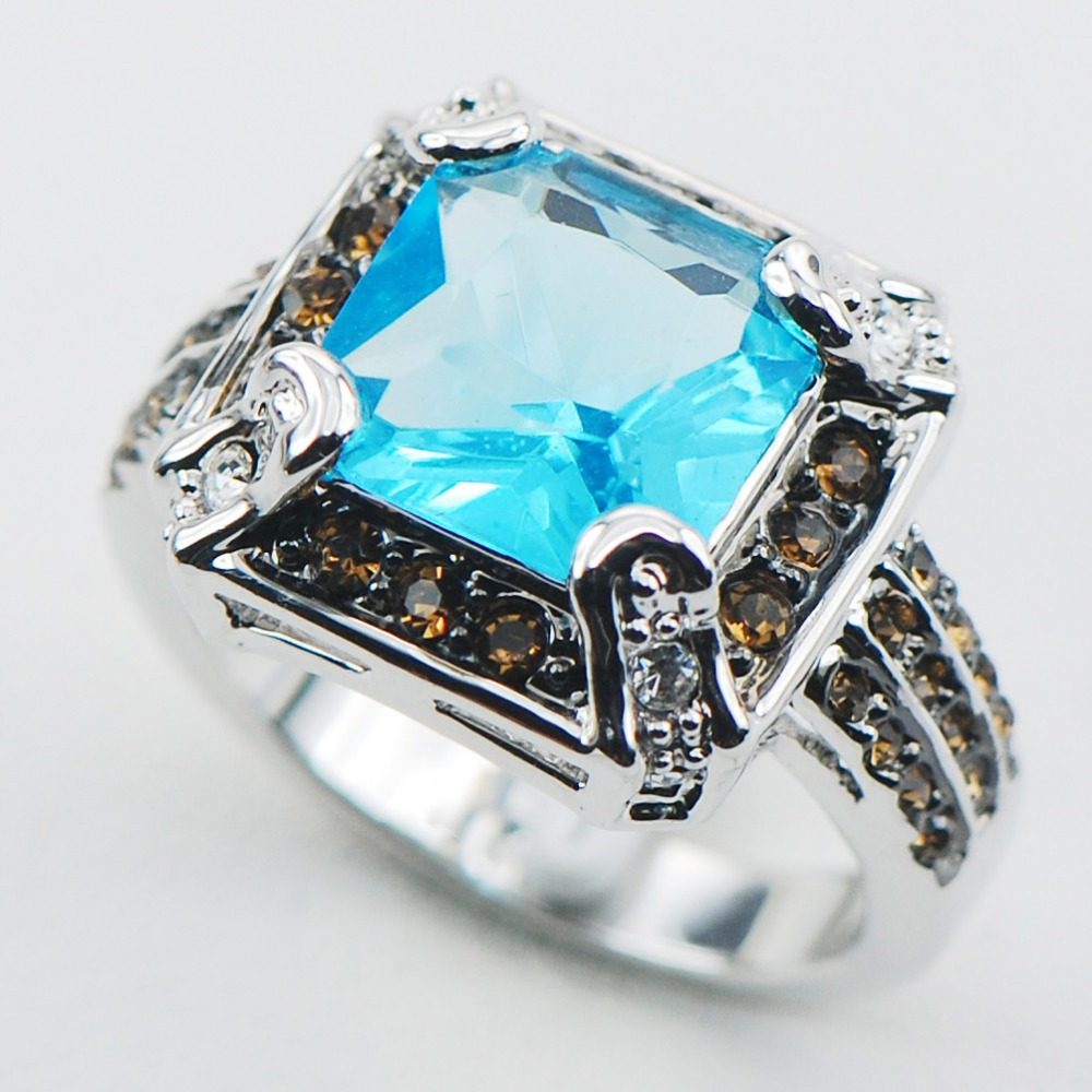Simulated Aquamarine 925 Sterling Silver Top Quality Fancy Jewelry wedding Ring Size 6 7 8 9 10 F1087
