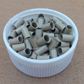 1000pcs  3.4*3.0*6.0mm 3.5mm Euro Lock  Micro copper tubes Rings links beads hair extension tube 6# Gray Blonde