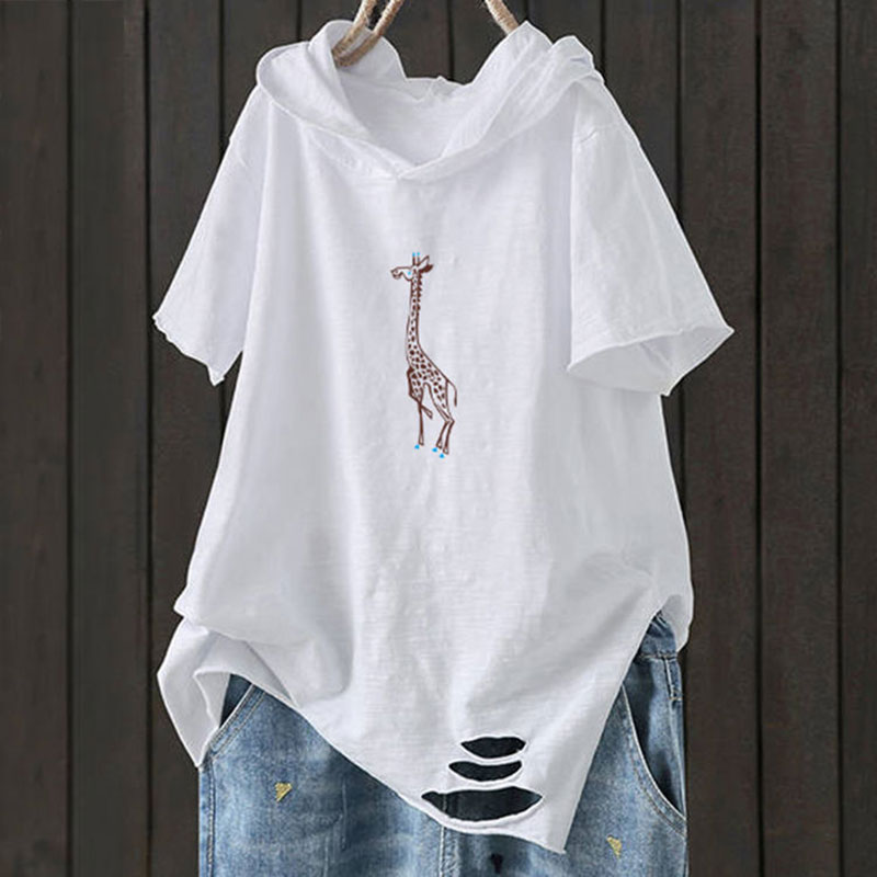 F&je New Fashion Summer Women T Shirt Plus Size Short Sleeve Loose Casual Hooded Tee Shirt Hole Cotton Femme Print Tops D32