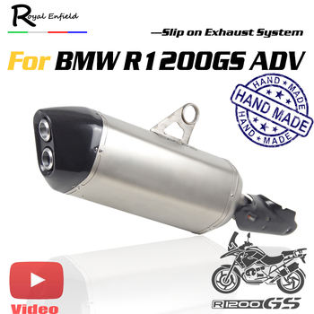 Motorcyle exhaust muffler slip on hand made Titanium alloy muffler for BMW R1200GS R1200GSADV with DB killer and Laser marking