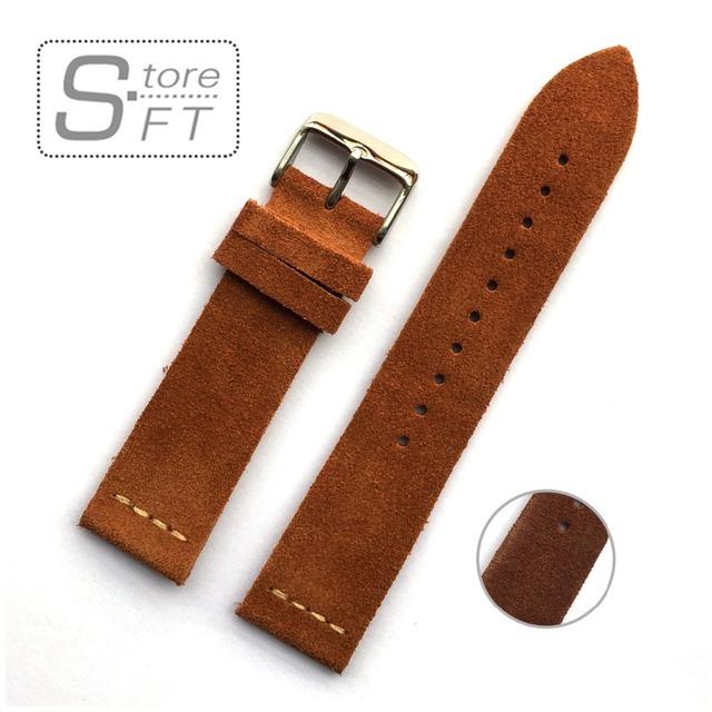 Eache suede diseño especial y clásica correa de cuero genuino marrón claro y marrón oscuro tamaño 20mm 22mm