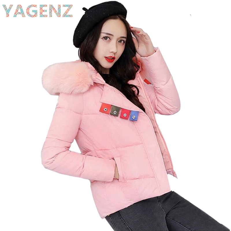 YAGENZ Hooded Short Jacket Women Winter 2017 Parkas Slim Fur collar Female Cotton Jacket Casual Tops Lady Warm Winter Basic Coat yagenz 2017 women winter short jacket fashion slim hooded cotton jacket coat winter warm parkas female coats plus size m 3xl a91