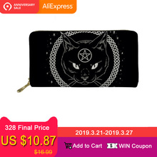 Купить с кэшбэком FORUDESIGNS Gothic Moon Phase Witching Black Cat Women Wallets Leather Coin Pocket Card Holder Phone Clucth porte feuille femme