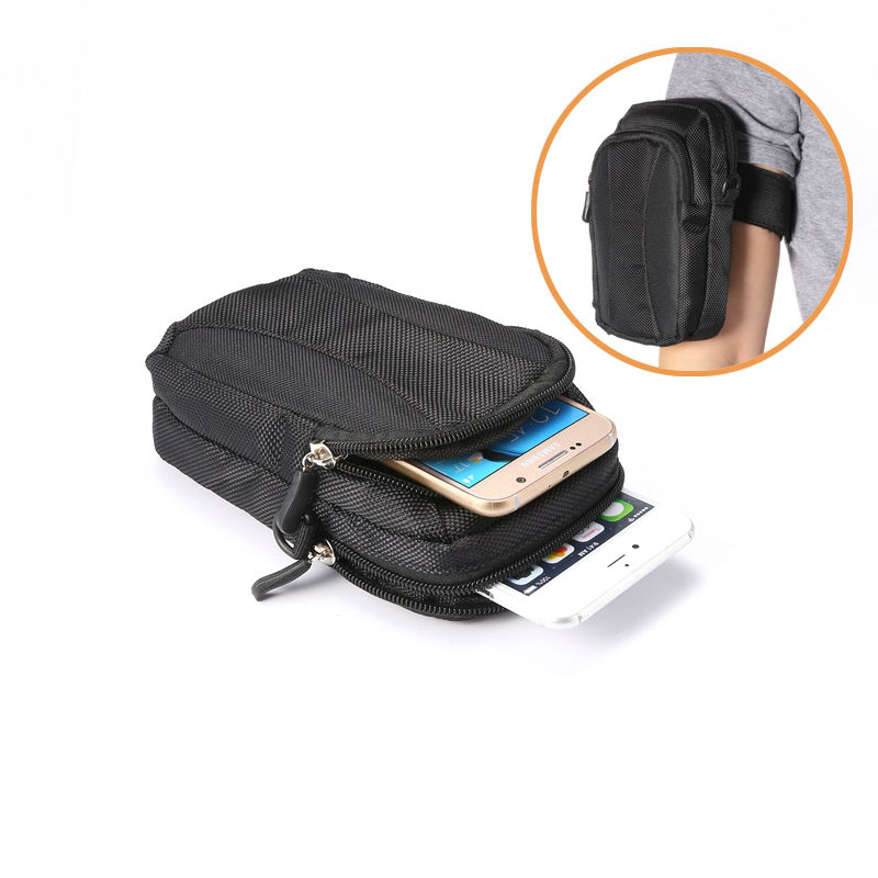 New Double Zipper Sports Wallet Mobile Phone Bag Outdoor Cover Case for Multi Phone Model Pouch With Hand/Shoulder Strap XCZ09