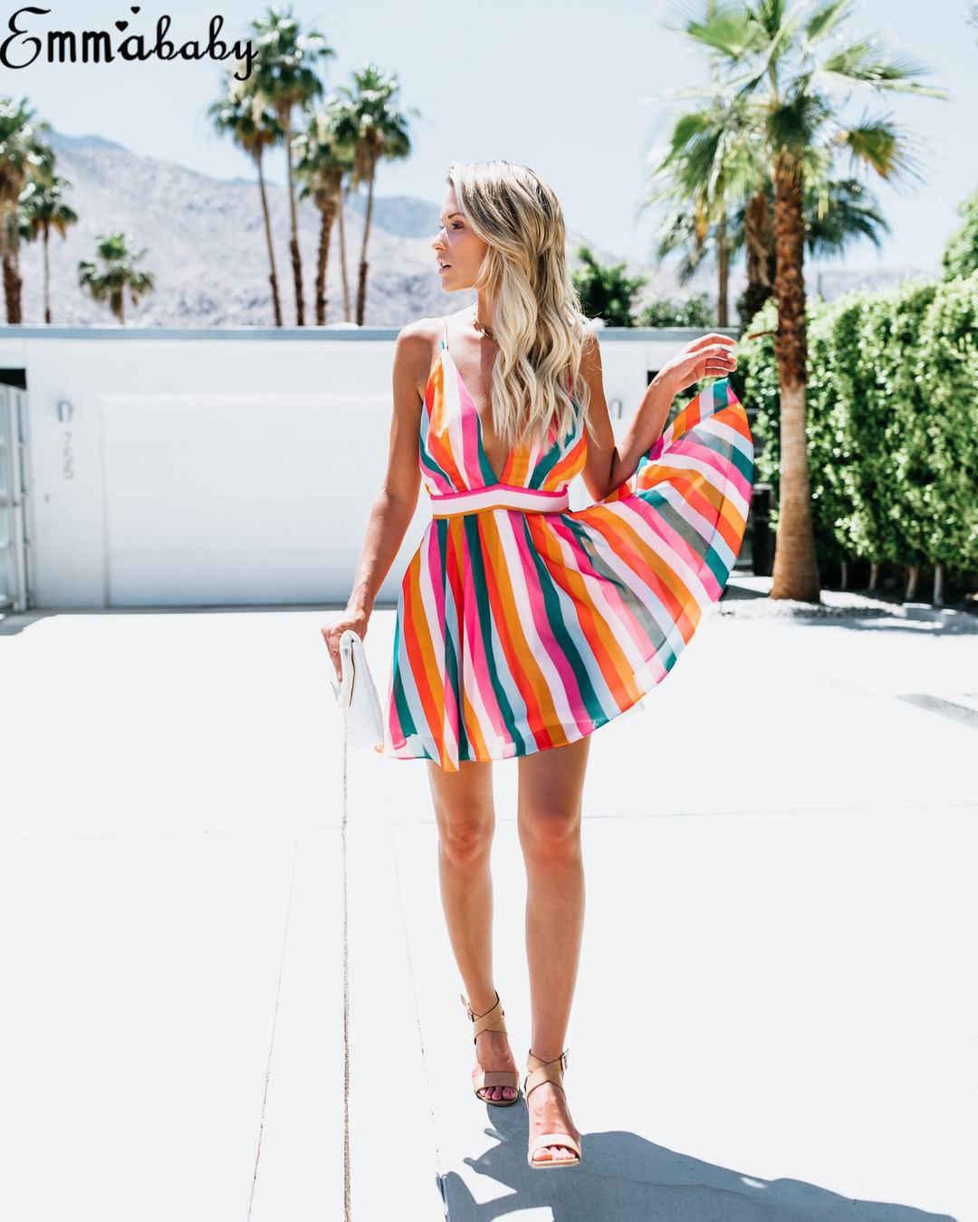 Hirigin Wanita Tanpa Lengan Warna Stripe Mini Deep V Gaun Pernikahan Pesta Musim Panas Pantai Sling Halter Gaun Matahari