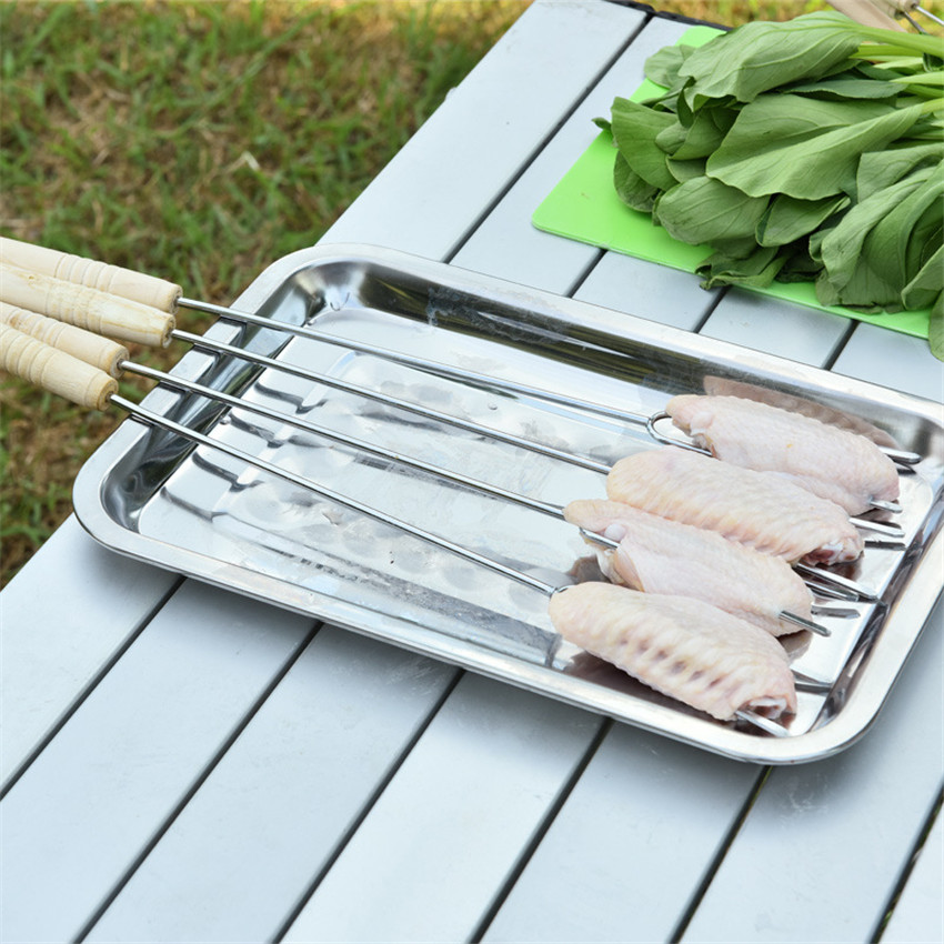 10pcs U Shape BBQ Roast Barbecue Needle metal kebab skewers 35cm Stainless Steel Barbeque Skewers Outdoor Picnic barbecue stick