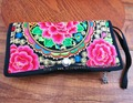 16-Pocket Vintage Hmong Thai Ethnic Wallet purse, Card Holder Bag, Hobo Hippie Ethnic handbag with embroidery, SYS-456