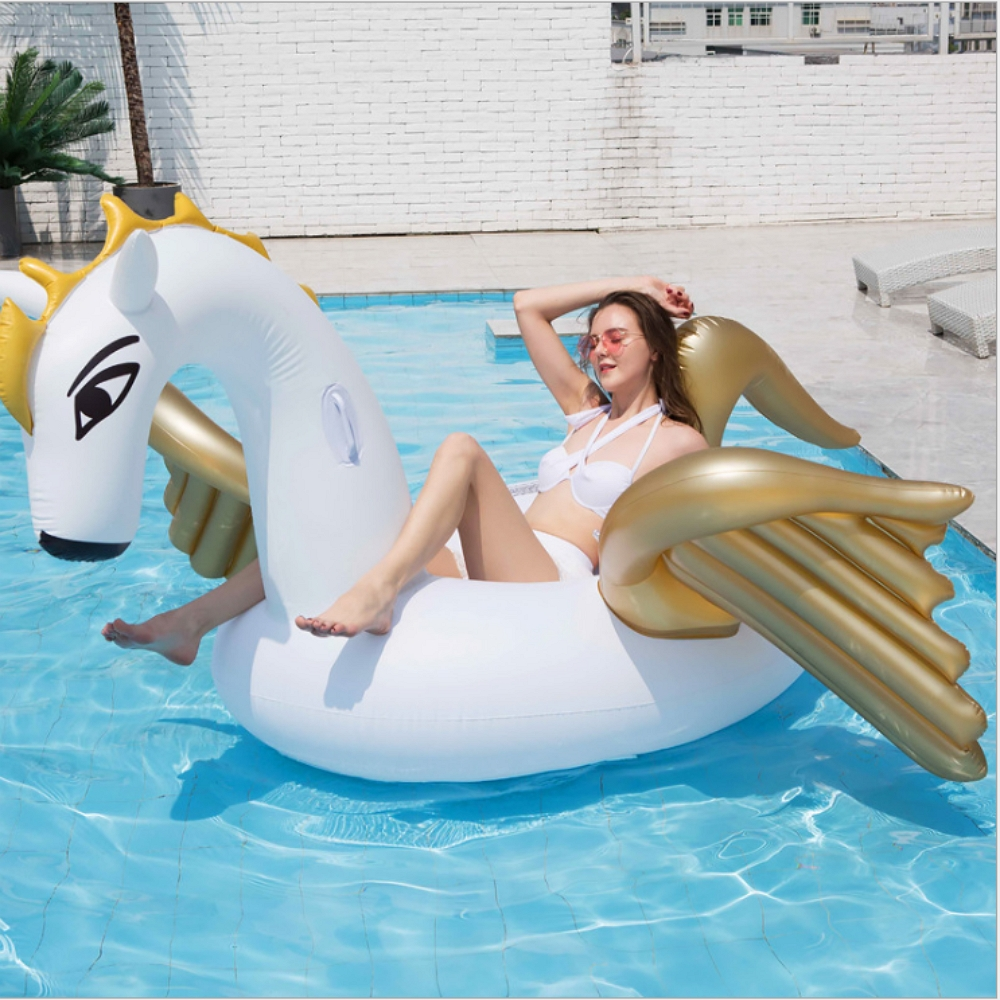 270cm Giant Inflatable Pegasus Ride on Pool Float for adult Inflatable Pegasus Flamingo Island family Beach Lounger Water fun in Swimming Rings from Sports Entertainment