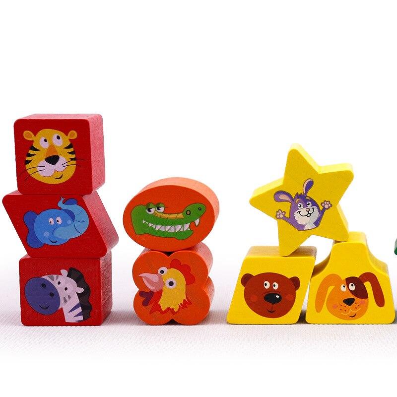 Jouets pour Enfants Enfant En Bois Jouet Cube Géométrique Forme Apprendre Bébé Enfant En Bas Âge Préscolaire Jeu Éducatif Jouet Reconnaissance Match Puzzle - 4