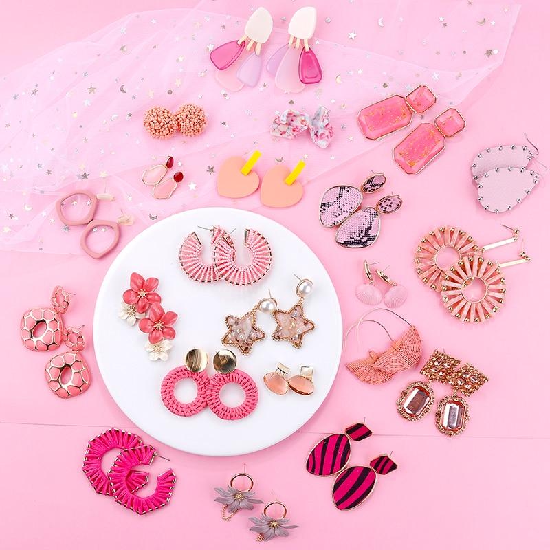 Flashbuy Pink Korean Geometric Irregula Acrylic Statement Drop Earrings For Women Summer Sweet Party Bohemian Fashion Jewelry in Drop Earrings from Jewelry Accessories