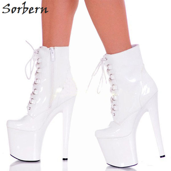 Sorbern 20Cm Spike Heels Ankle Boots Side Zipper Round Toe Platform 10Cm Solid Cross-Tied Fashion For Womens Shoes Boots
