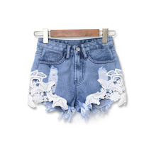 Summer 2017 Ripped High Waist Women Casual Shorts Sexy Lace Crochet Blue Denim Shorts Vintage Jeans Girl European Hot Shorts
