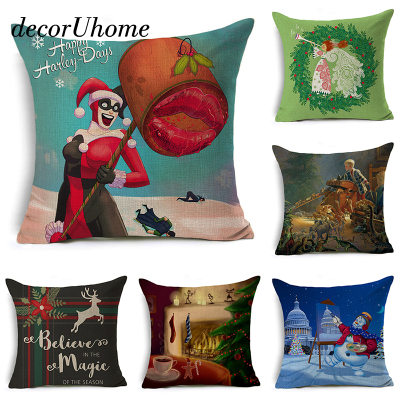 Nordic Christmas Pillow Cover Santa Claus Letter Cushion Cover Square Decorative Throw Pillow Case Sofa Home Decor almofadas