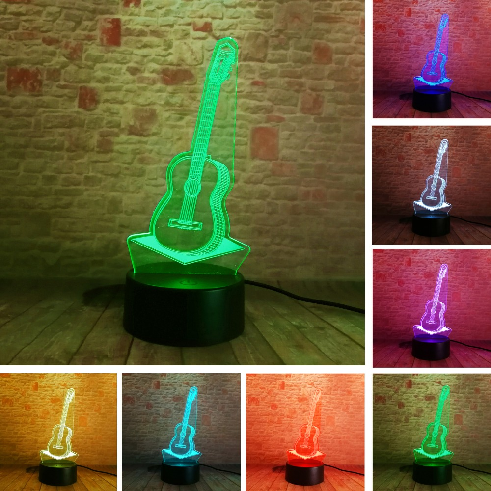 3D Fashion Guitar Night Lighting Festival 7 Colors Changing Touch Led Table Lamps Room Decor Music Enthusiast Child Baby Gifts