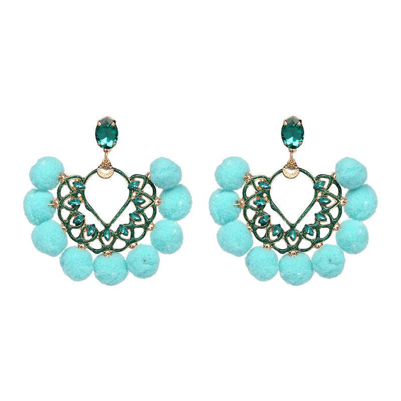 Moda snoops, 5 colores, abalorio, novedades, pendientes bohemios colgantes brillantes para mujeres, pendientes Bijoux de cristal, joyería de moda